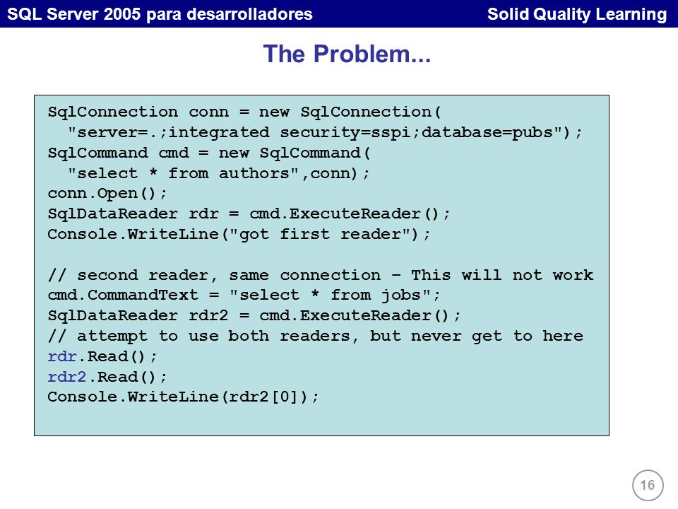 16 SQL Server 2005 para desarrolladores Solid Quality Learning The Problem...