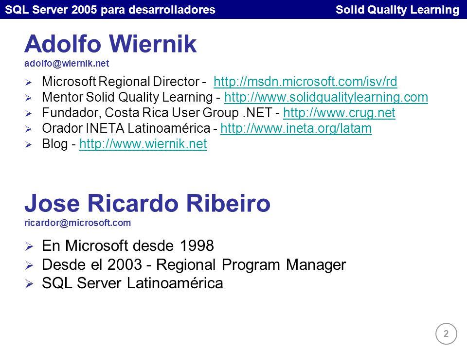 2 SQL Server 2005 para desarrolladores Solid Quality Learning Adolfo Wiernik adolfo@wiernik.net Microsoft Regional Director - http://msdn.microsoft.com/isv/rdhttp://msdn.microsoft.com/isv/rd Mentor Solid Quality Learning - http://www.solidqualitylearning.comhttp://www.solidqualitylearning.com Fundador, Costa Rica User Group.NET - http://www.crug.nethttp://www.crug.net Orador INETA Latinoamérica - http://www.ineta.org/latamhttp://www.ineta.org/latam Blog - http://www.wiernik.nethttp://www.wiernik.net Jose Ricardo Ribeiro ricardor@microsoft.com En Microsoft desde 1998 Desde el 2003 - Regional Program Manager SQL Server Latinoamérica