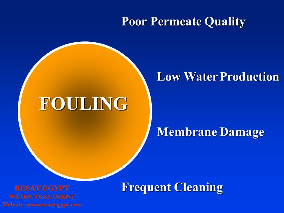 FOULING Low WaterProduction Low Water Production Membrane Damage Poor Permeate Quality Frequent Cleaning