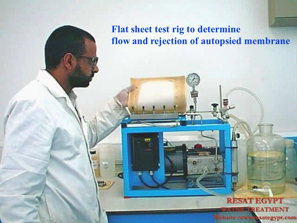 Flat sheet test rig to determine flow and rejection of autopsied membrane