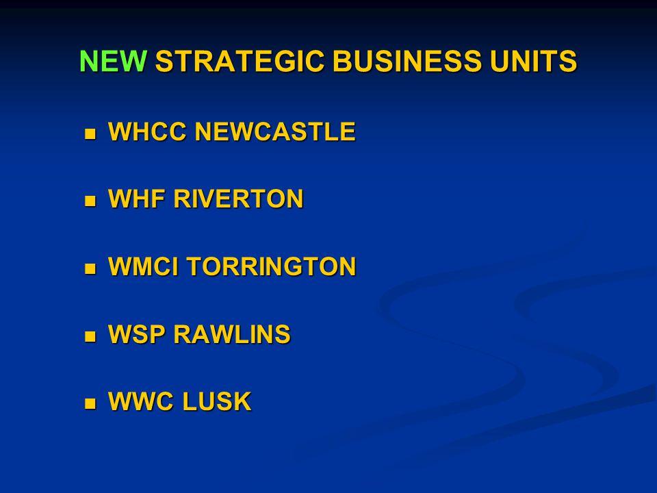 NEW STRATEGIC BUSINESS UNITS WHCC NEWCASTLE WHCC NEWCASTLE WHF RIVERTON WHF RIVERTON WMCI TORRINGTON WMCI TORRINGTON WSP RAWLINS WSP RAWLINS WWC LUSK WWC LUSK