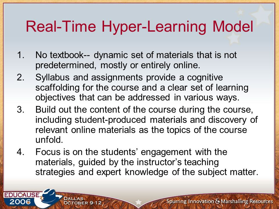 Dynamic Model– Future Think Global full-content online libraries, intricately hyperlinked and tagged Instant remix functionality to combine, compare, and analyze content on the fly Faculty/student collaboration in the construction of learning experiences tailored to the needs of individual learners