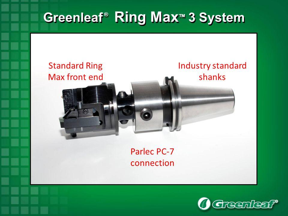 Standard Ring Max front end Industry standard shanks Parlec PC-7 connection Greenleaf ® Ring Max TM 3 System