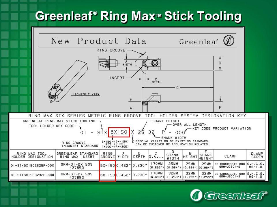 Greenleaf ® Ring Max TM Stick Tooling