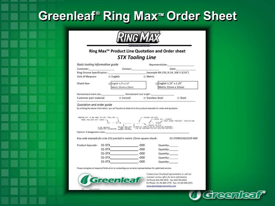 Greenleaf ® Ring Max TM Order Sheet