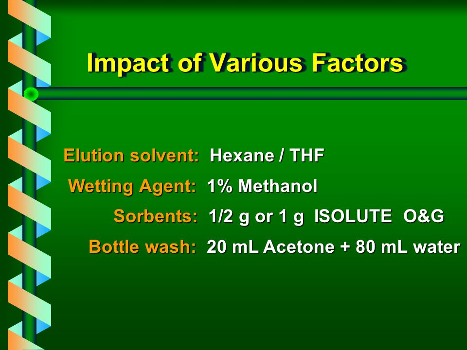 O & G on ISOLUTE O & G 1. Sample pre-treatment 2. Column solvation 3. Column pre- equilibrium 4. Sample application 5. Interference elution 6. Analyte