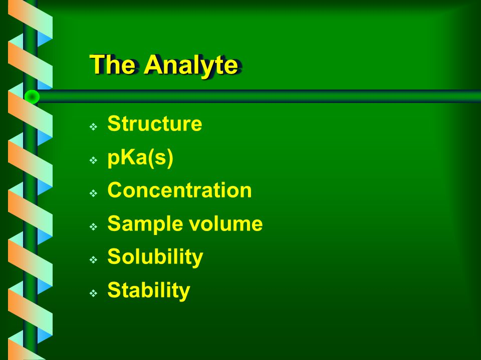 The Analyte v Structure v pKa(s) v Concentration v Sample volume v Solubility v Stability