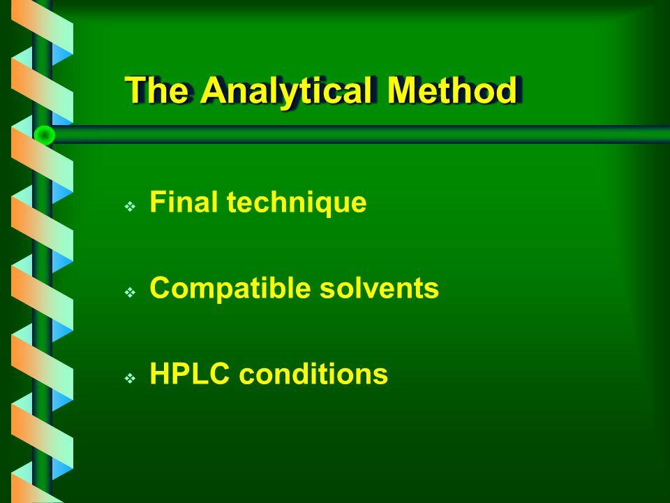 The Matrix v Type of matrix v pH and ionic strength v Interferences