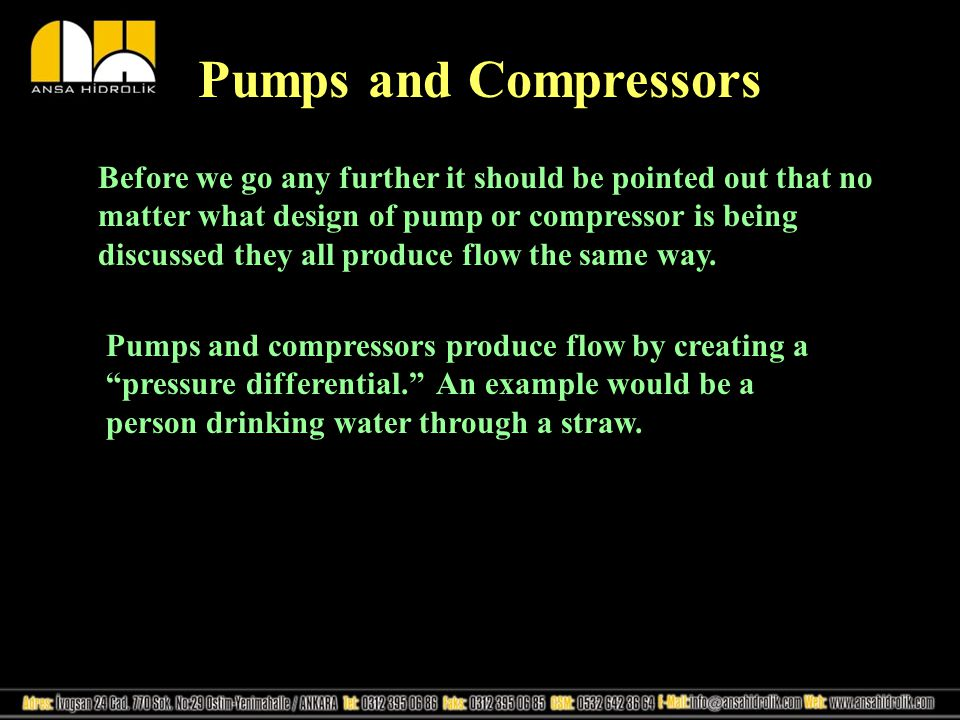 Dynamic Compressors Dynamic compressors are not positive displacement.