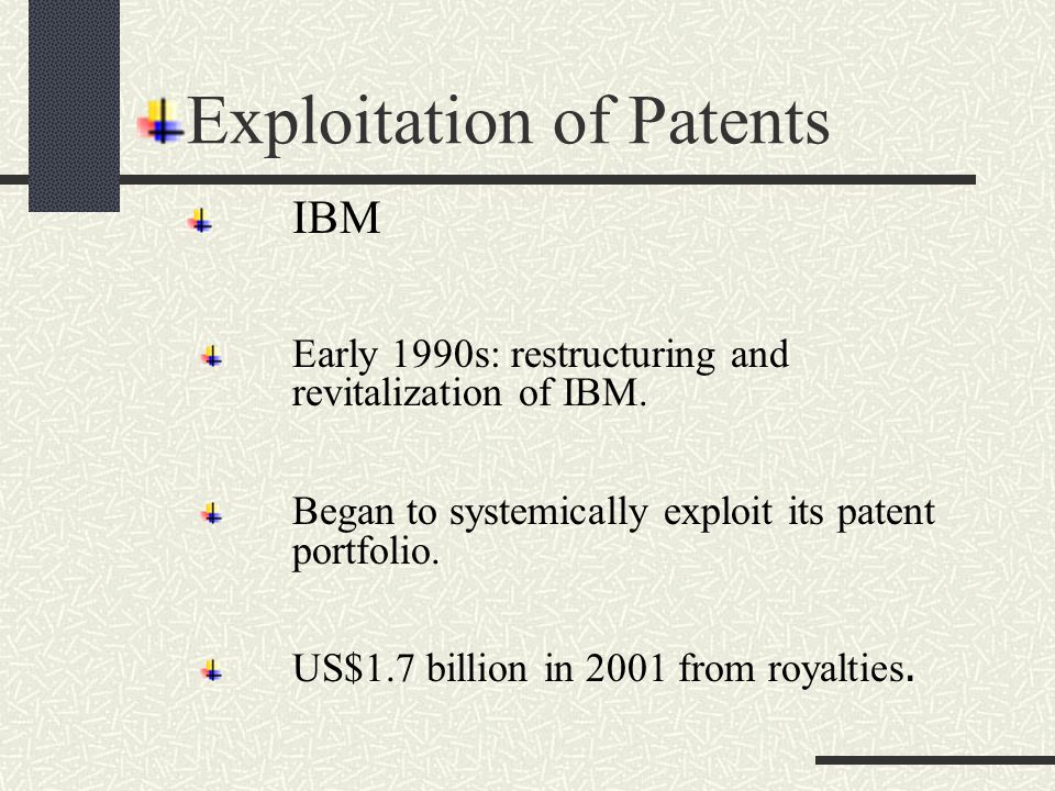 Texas Instruments Portfolio mining and licensing in mid-1980s resulted in US$4 billion patent royalties.