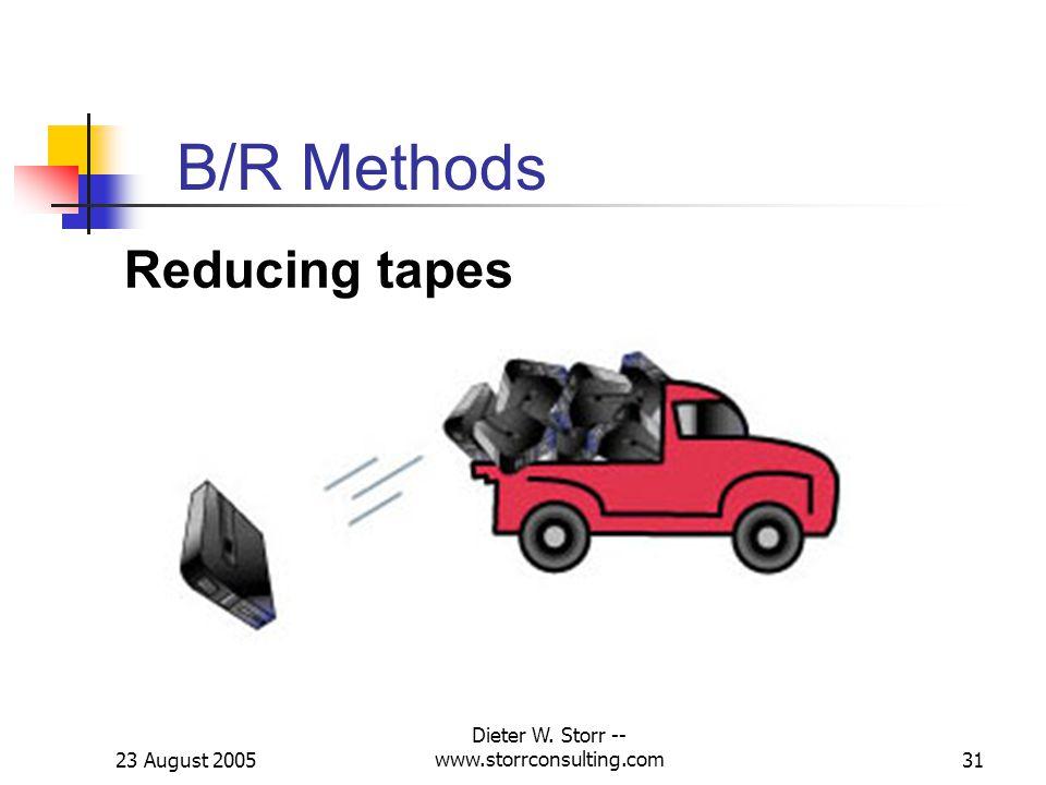23 August 2005 Dieter W. Storr -- www.storrconsulting.com31 B/R Methods Reducing tapes