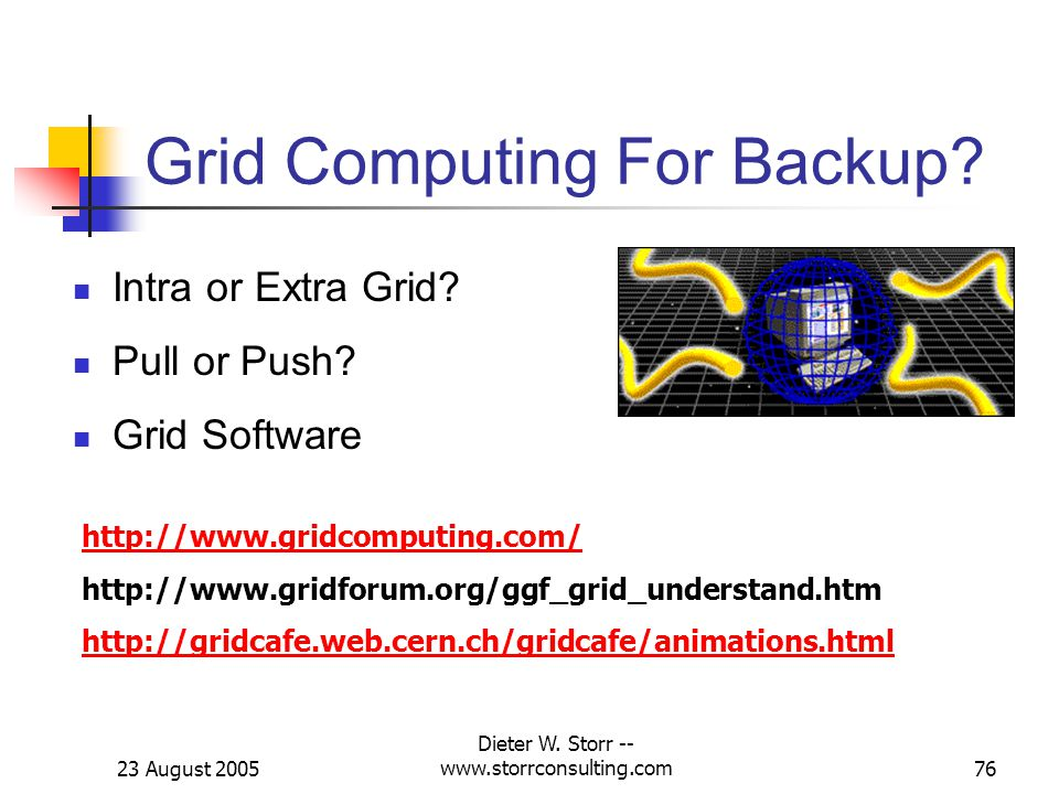 23 August 2005 Dieter W. Storr -- www.storrconsulting.com76 Grid Computing For Backup.