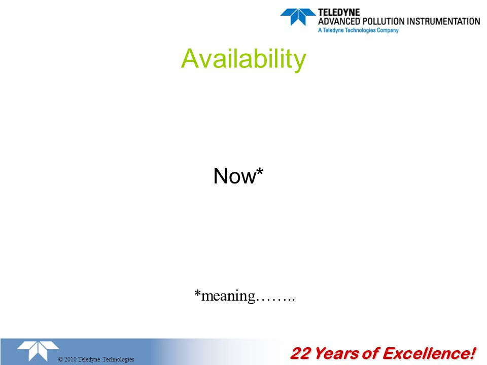 22 Years of Excellence! © 2010 Teledyne Technologies Availability Now* *meaning……..