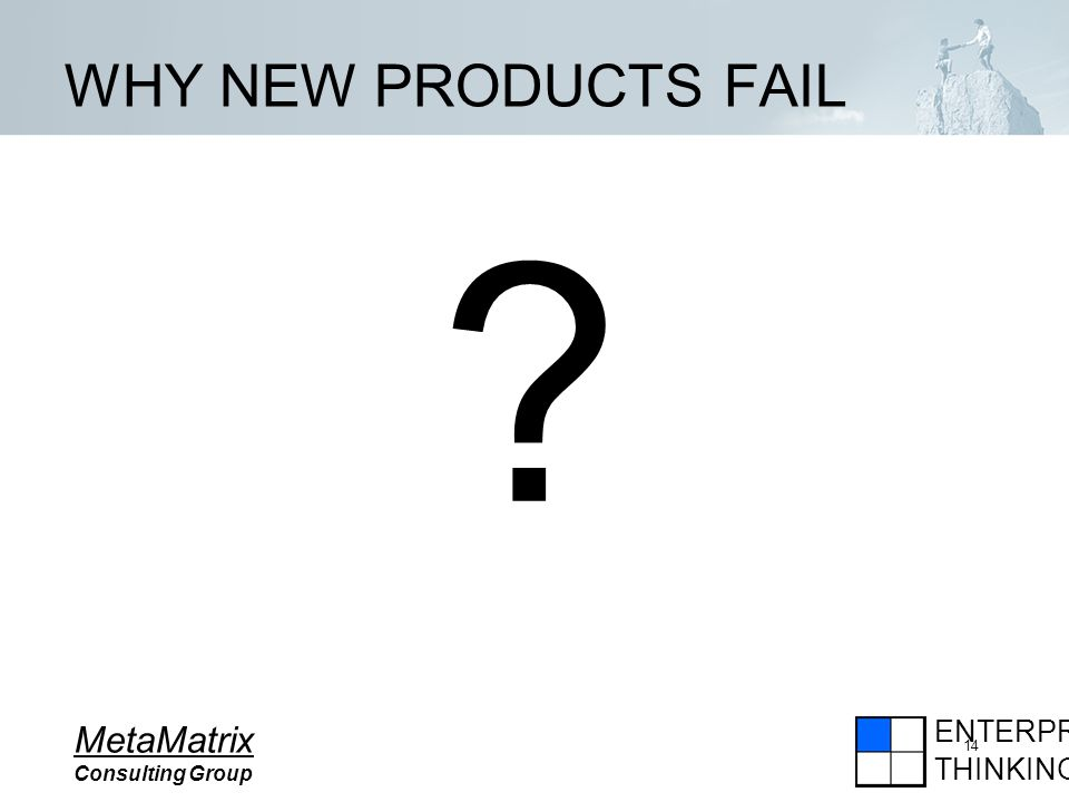 ENTERPRISE THINKING MetaMatrix Consulting Group 14 WHY NEW PRODUCTS FAIL