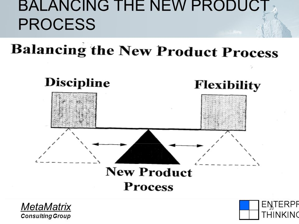 ENTERPRISE THINKING MetaMatrix Consulting Group 20 BALANCING THE NEW PRODUCT PROCESS