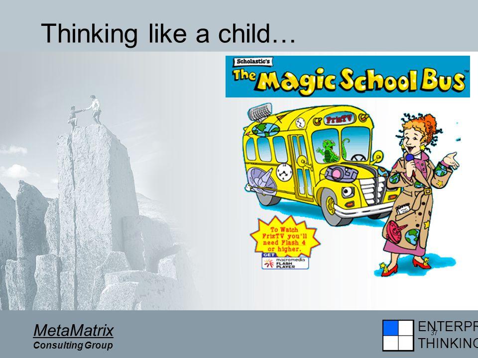 ENTERPRISE THINKING MetaMatrix Consulting Group 37 Thinking like a child…