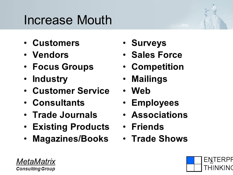 ENTERPRISE THINKING MetaMatrix Consulting Group 40 Increase Mouth Customers Vendors Focus Groups Industry Customer Service Consultants Trade Journals Existing Products Magazines/Books Surveys Sales Force Competition Mailings Web Employees Associations Friends Trade Shows