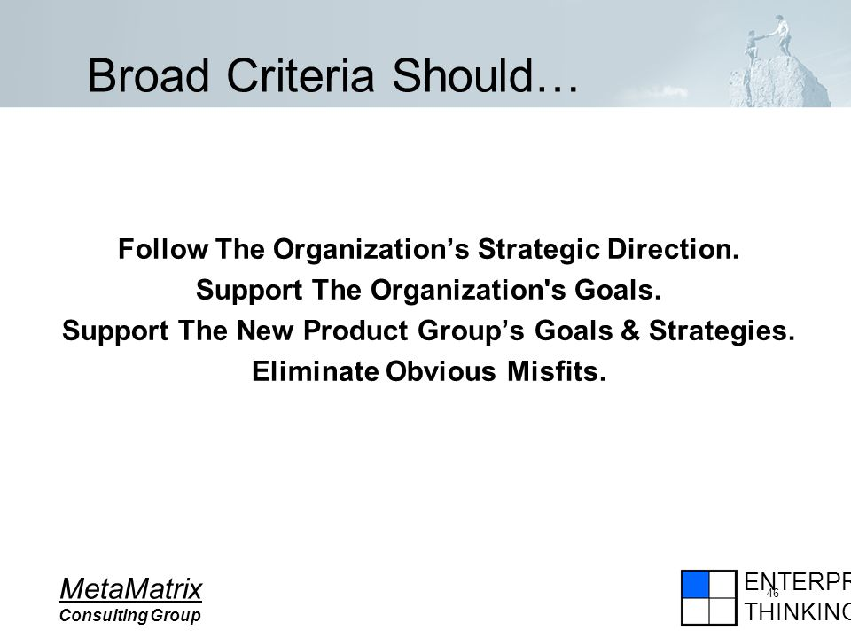 ENTERPRISE THINKING MetaMatrix Consulting Group 46 Broad Criteria Should… Follow The Organizations Strategic Direction.