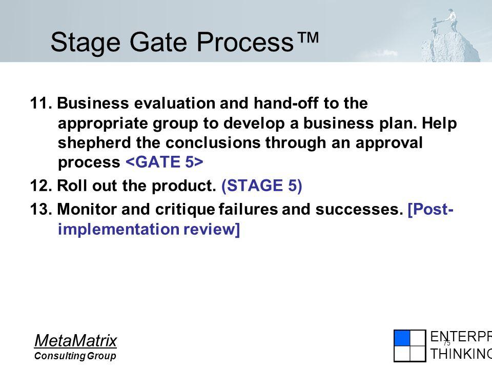 ENTERPRISE THINKING MetaMatrix Consulting Group 75 11.