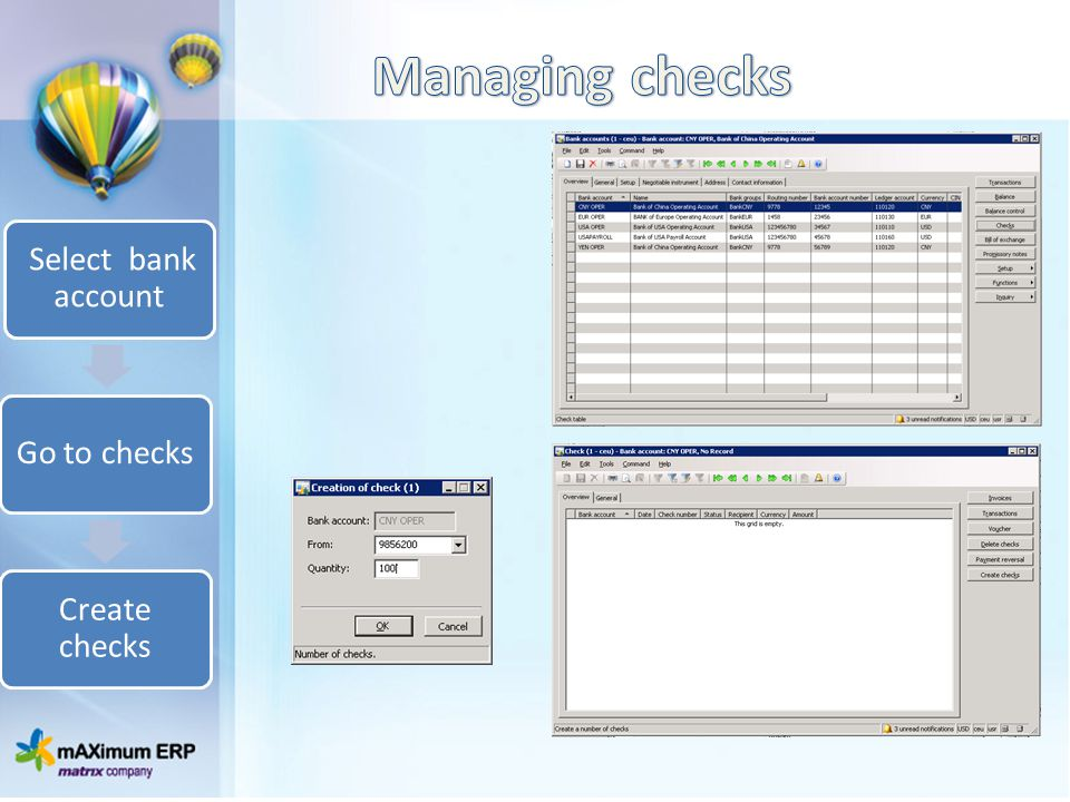 Select bank account Go to checks Create checks