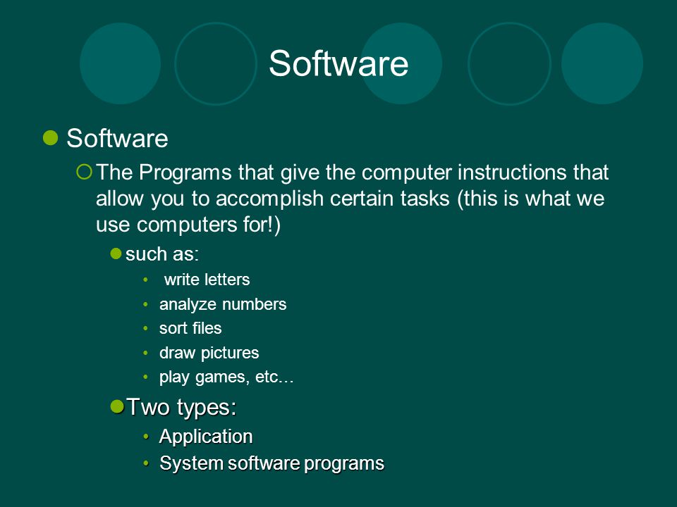 Software The Programs that give the computer instructions that allow you to accomplish certain tasks (this is what we use computers for!) such as: wri