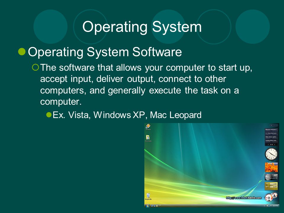 Operating System Operating System Software The software that allows your computer to start up, accept input, deliver output, connect to other computer