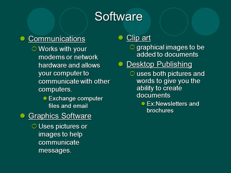 Software Communications Communications Works with your modems or network hardware and allows your computer to communicate with other computers. Works