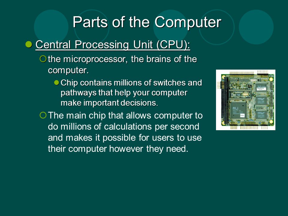 Parts of the Computer Central Processing Unit (CPU): Central Processing Unit (CPU): the microprocessor, the brains of the computer. the microprocessor