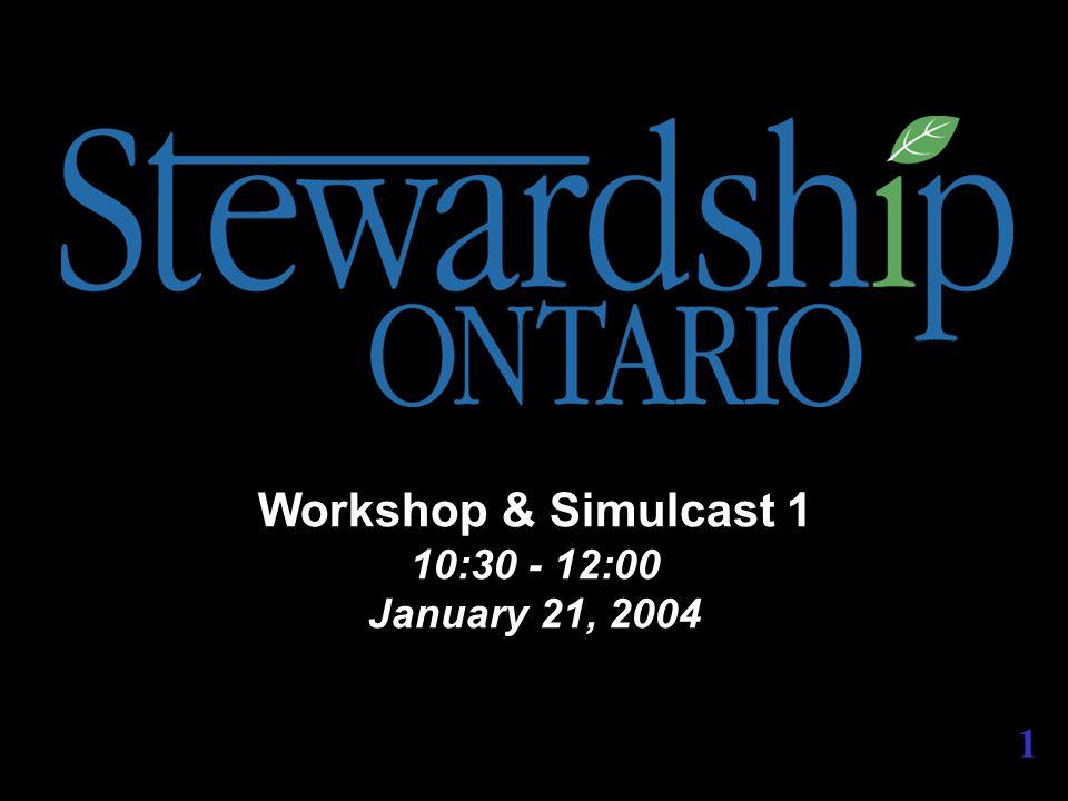 Workshop & Simulcast 1 10:30 - 12:00 January 21, 2004 1