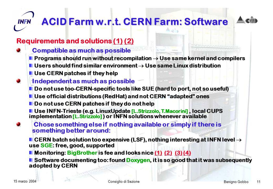 Benigno Gobbo 11 Consiglio di Sezione 15 marzo 2004 ACID Farm w.r.t.