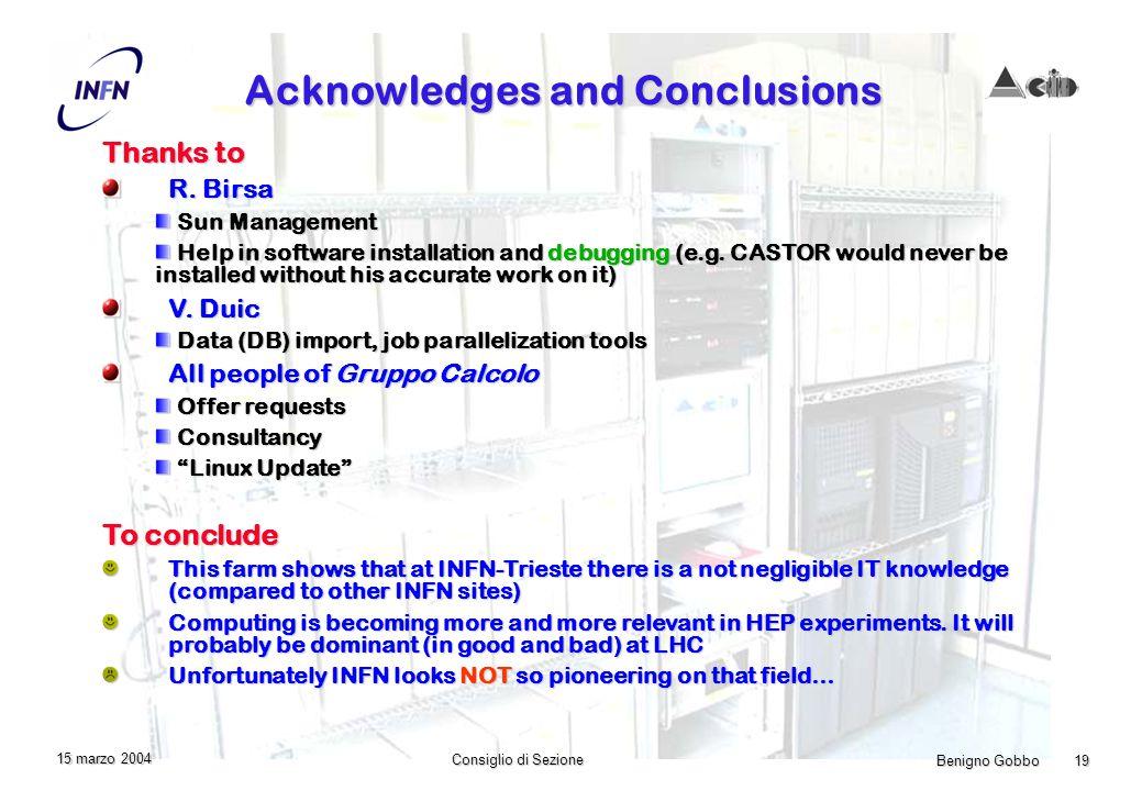 Benigno Gobbo 19 Consiglio di Sezione 15 marzo 2004 Acknowledges and Conclusions Thanks to R.