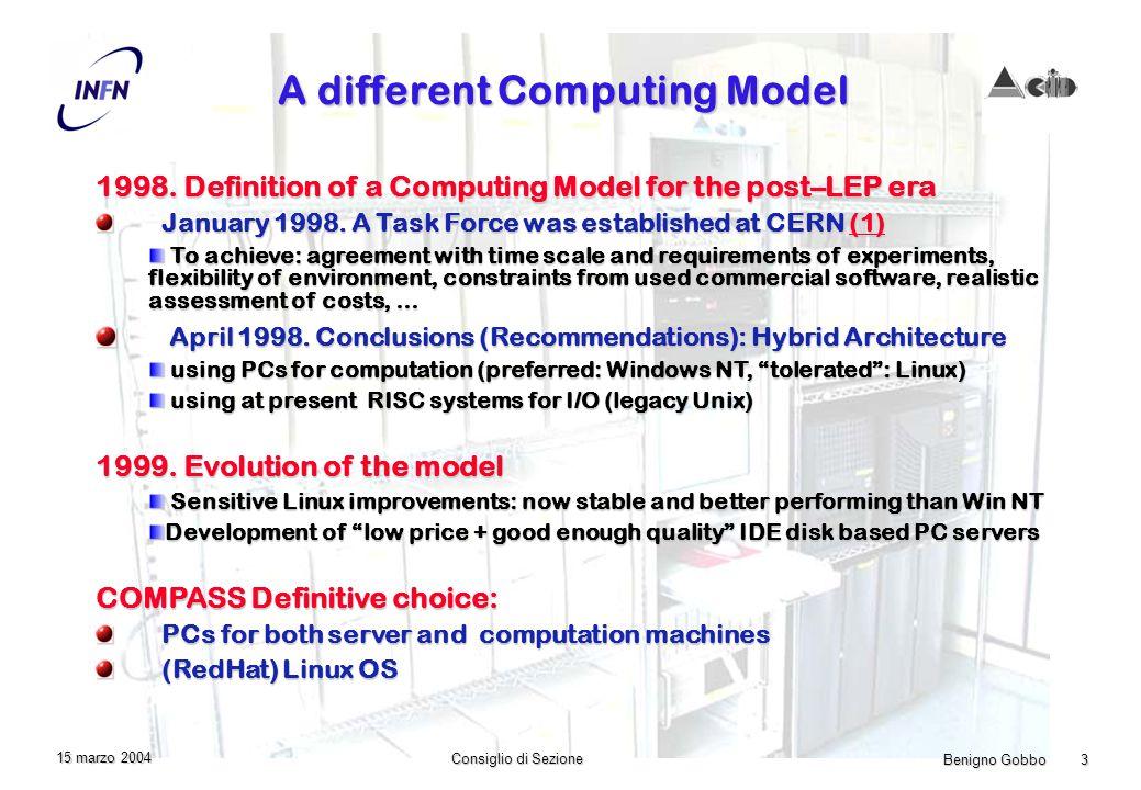Benigno Gobbo 3 Consiglio di Sezione 15 marzo 2004 A different Computing Model 1998.