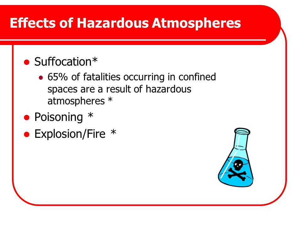 Effects of Hazardous Atmospheres Suffocation* 65% of fatalities occurring in confined spaces are a result of hazardous atmospheres * Poisoning * Explo