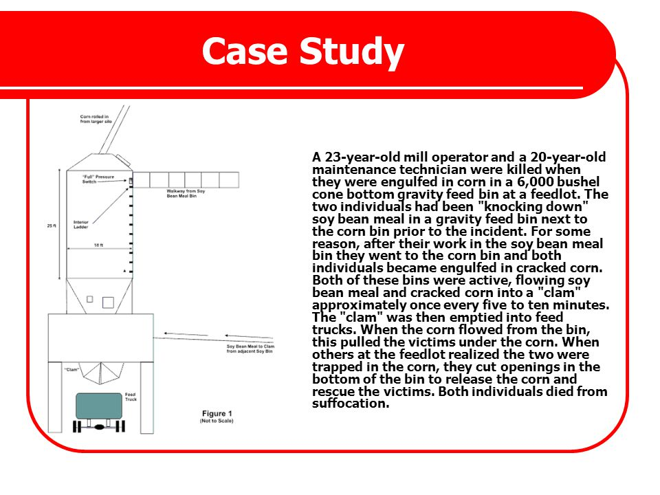 Case Study A 23-year-old mill operator and a 20-year-old maintenance technician were killed when they were engulfed in corn in a 6,000 bushel cone bot