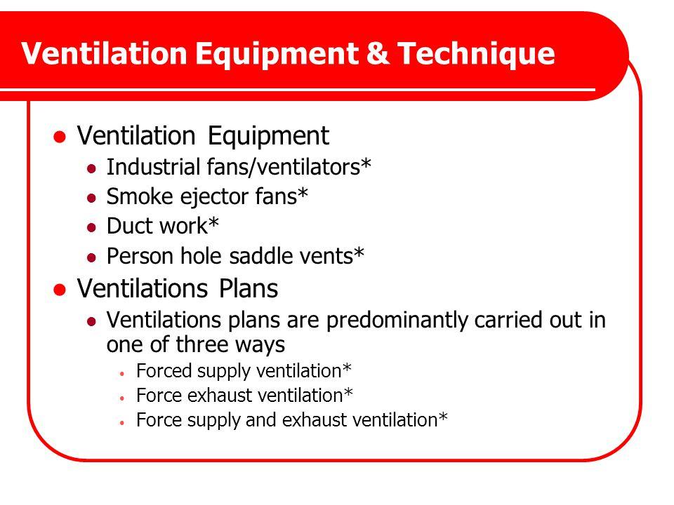 Ventilation Equipment & Technique Ventilation Equipment Industrial fans/ventilators* Smoke ejector fans* Duct work* Person hole saddle vents* Ventilat