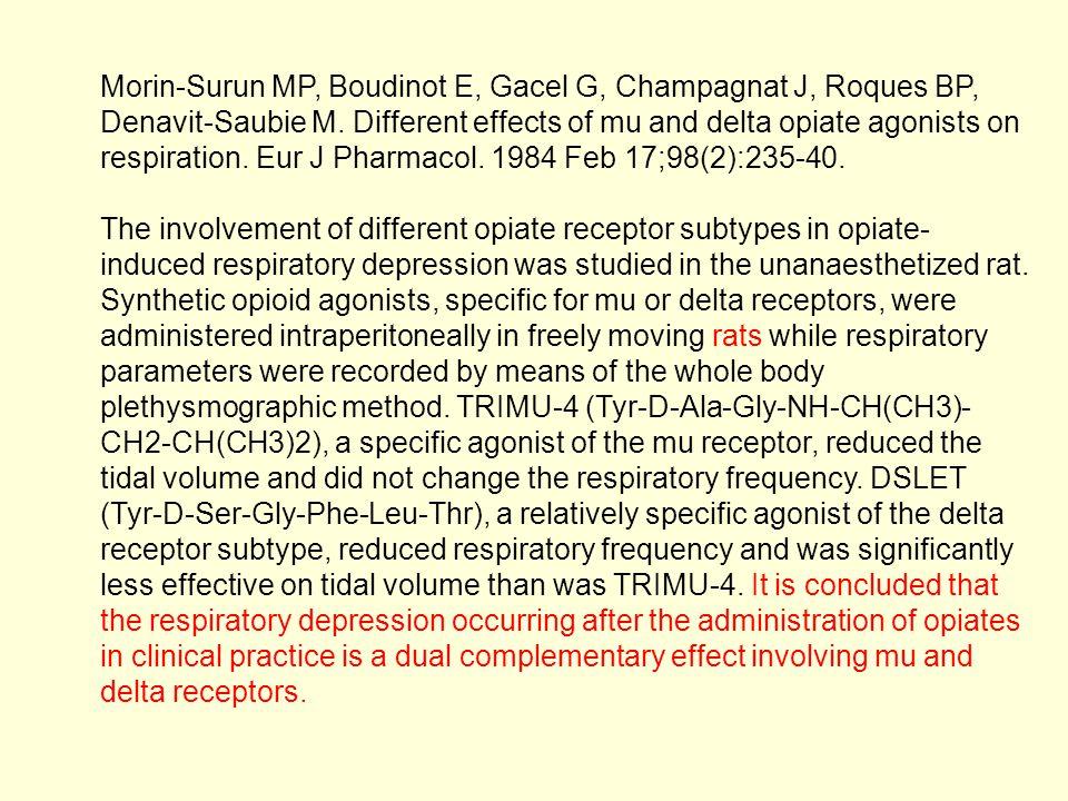 Morin-Surun MP, Boudinot E, Gacel G, Champagnat J, Roques BP, Denavit-Saubie M. Different effects of mu and delta opiate agonists on respiration. Eur