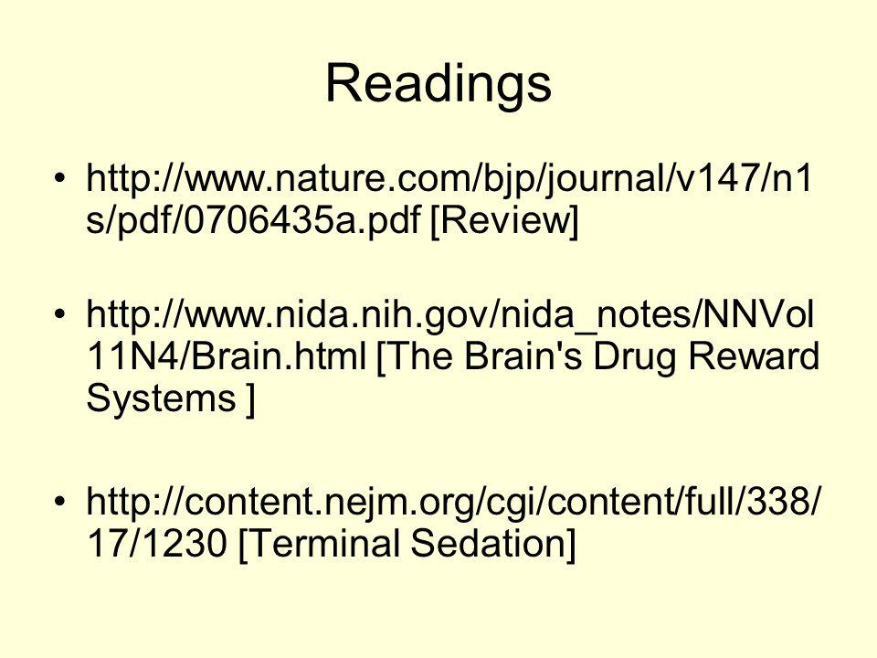 Readings http://www.nature.com/bjp/journal/v147/n1 s/pdf/0706435a.pdf [Review] http://www.nida.nih.gov/nida_notes/NNVol 11N4/Brain.html [The Brain's D