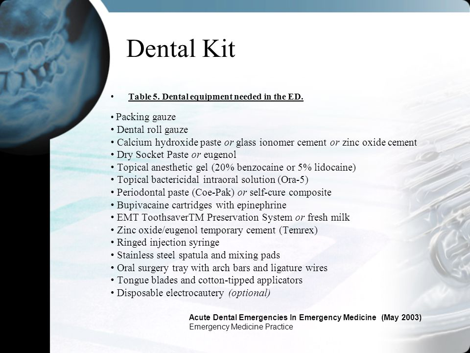 Dental Kit Table 5. Dental equipment needed in the ED. Packing gauze Dental roll gauze Calcium hydroxide paste or glass ionomer cement or zinc oxide c