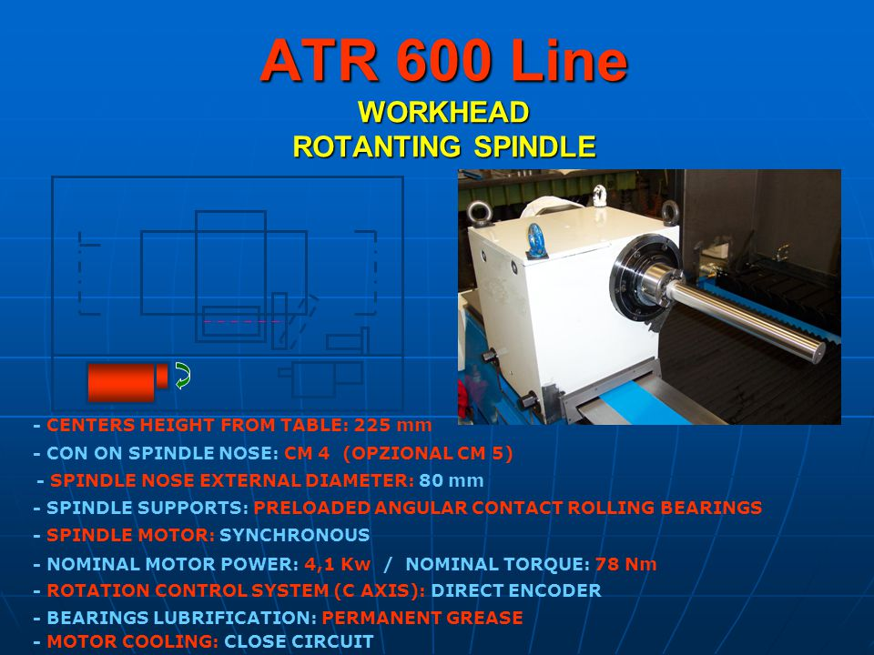 ATR 600 Line WORKHEAD ROTANTING SPINDLE - CON ON SPINDLE NOSE: CM 4 (OPZIONAL CM 5) - SPINDLE MOTOR: SYNCHRONOUS - SPINDLE NOSE EXTERNAL DIAMETER: 80 mm - ROTATION CONTROL SYSTEM (C AXIS): DIRECT ENCODER - BEARINGS LUBRIFICATION: PERMANENT GREASE - MOTOR COOLING: CLOSE CIRCUIT - NOMINAL MOTOR POWER: 4,1 Kw / NOMINAL TORQUE: 78 Nm - SPINDLE SUPPORTS: PRELOADED ANGULAR CONTACT ROLLING BEARINGS - CENTERS HEIGHT FROM TABLE: 225 mm