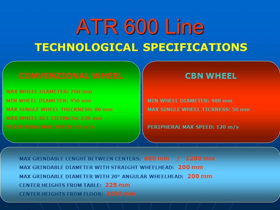 ATR 600 Line TECHNOLOGICAL SPECIFICATIONS CBN WHEEL MAX SINGLE WHEEL TICKNESS: 50 mm MIN WHEEL DIAMETER: 400 mm PERIPHERAL MAX SPEED: 120 m/s CONVENZIONAL WHEEL MAX WHEEL DIAMETER: 760 mm MAX SINGLE WHEEL THICKNESS: 80 mm MIN WHEEL DIAMETER: 450 mm PERIPHERAL MAX SPEED: 63 m/s MAX WHEEL SET TICHNESS: 120 mm MAX GRINDABLE LENGHT BETWEEN CENTERS: 600 mm / 1200 mm MAX GRINDABLE DIAMETER WITH STRAIGHT WHEELHEAD: 200 mm MAX GRINDABLE DIAMETER WITH 20° ANGULAR WHEELHEAD: 200 mm CENTER HEIGHTS FROM TABLE: 225 mm CENTER HEIGHTS FROM FLOOR: 1090 mm