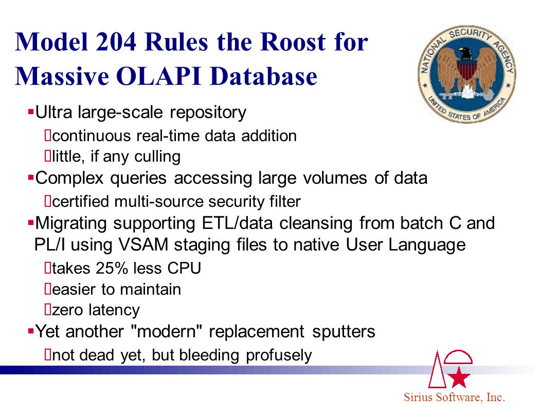 Sirius Software, Inc. Model 204 Rules the Roost for Massive OLAPI Database Ultra large-scale repository continuous real-time data addition little, if
