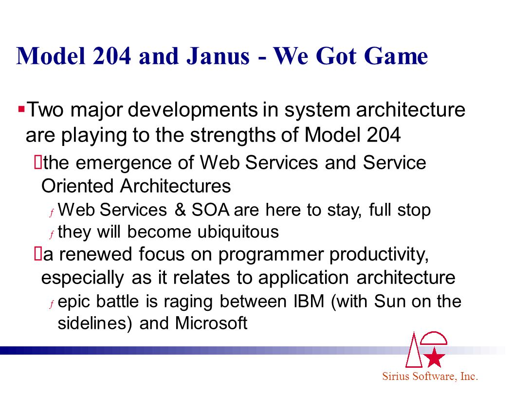 Sirius Software, Inc. Model 204 and Janus - We Got Game Two major developments in system architecture are playing to the strengths of Model 204 the em