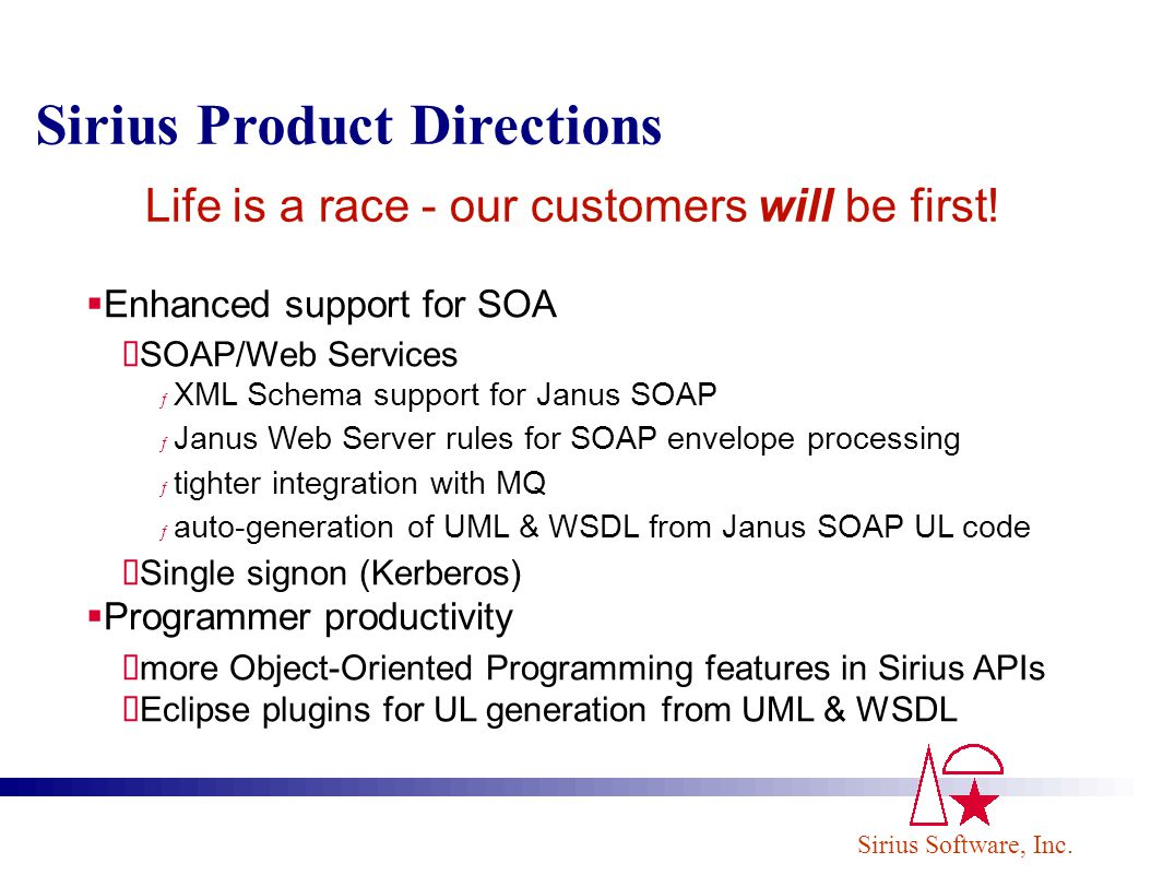Sirius Software, Inc. Sirius Product Directions Enhanced support for SOA SOAP/Web Services ƒ XML Schema support for Janus SOAP ƒ Janus Web Server rule