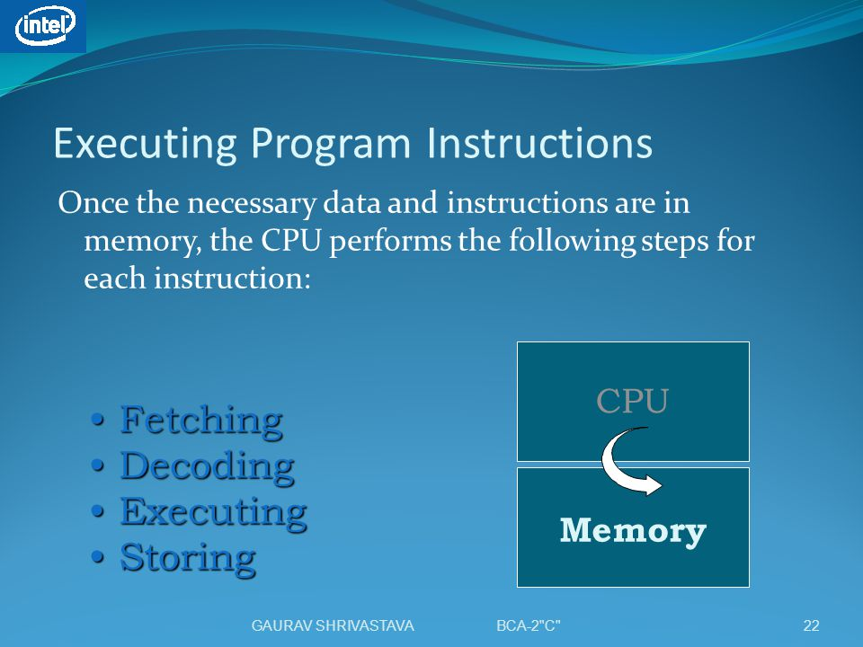 Executing Program Instructions Once the necessary data and instructions are in memory, the CPU performs the following steps for each instruction: CPU