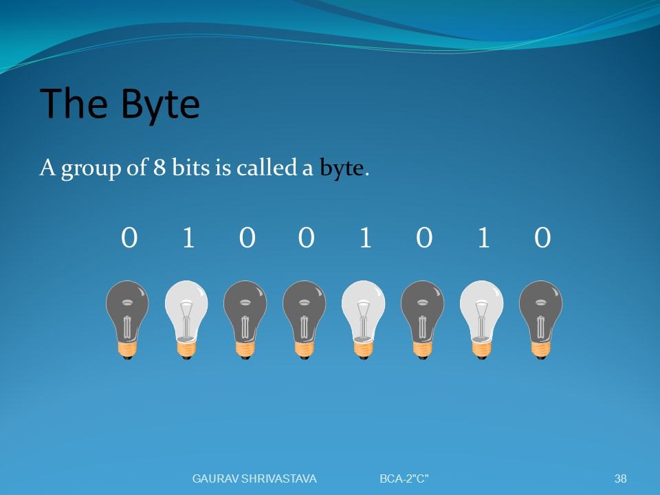 The Byte A group of 8 bits is called a byte. 00000111 38GAURAV SHRIVASTAVA BCA-2