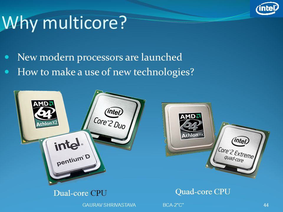 Why multicore? New modern processors are launched How to make a use of new technologies? Dual-core CPU Quad-core CPU 44 GAURAV SHRIVASTAVA BCA-2
