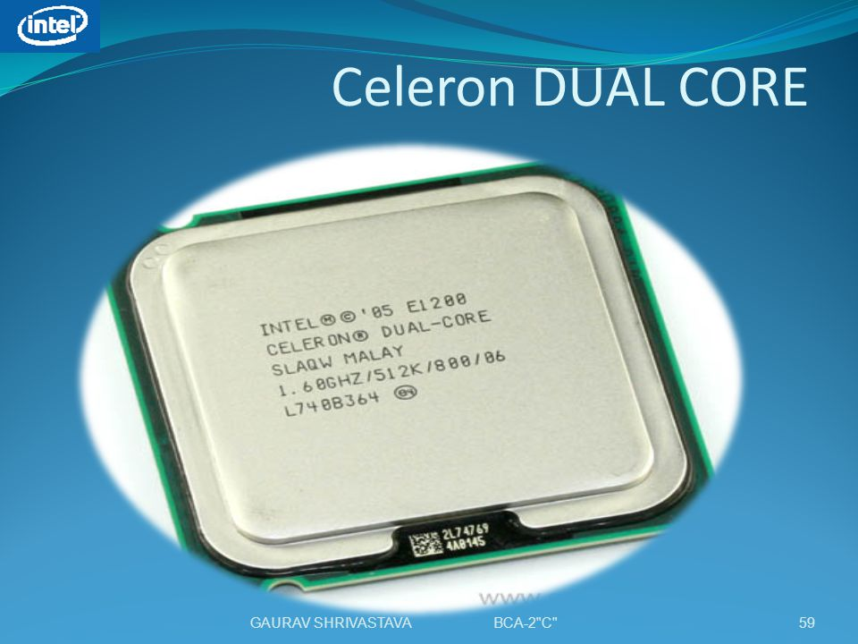 Celeron DUAL CORE 59GAURAV SHRIVASTAVA BCA-2 C