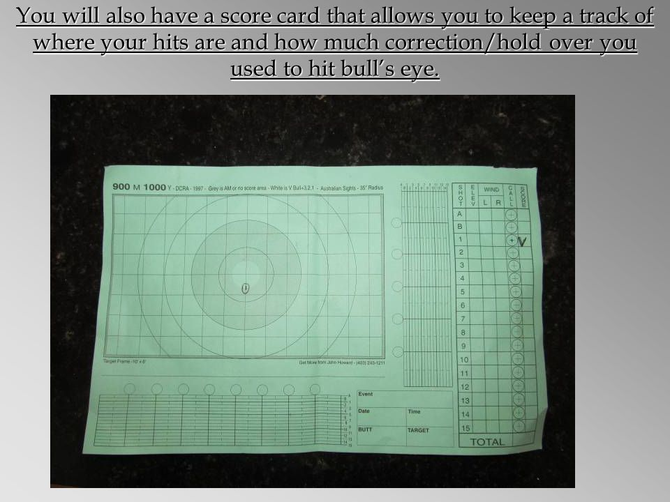 You will also have a score card that allows you to keep a track of where your hits are and how much correction/hold over you used to hit bulls eye.