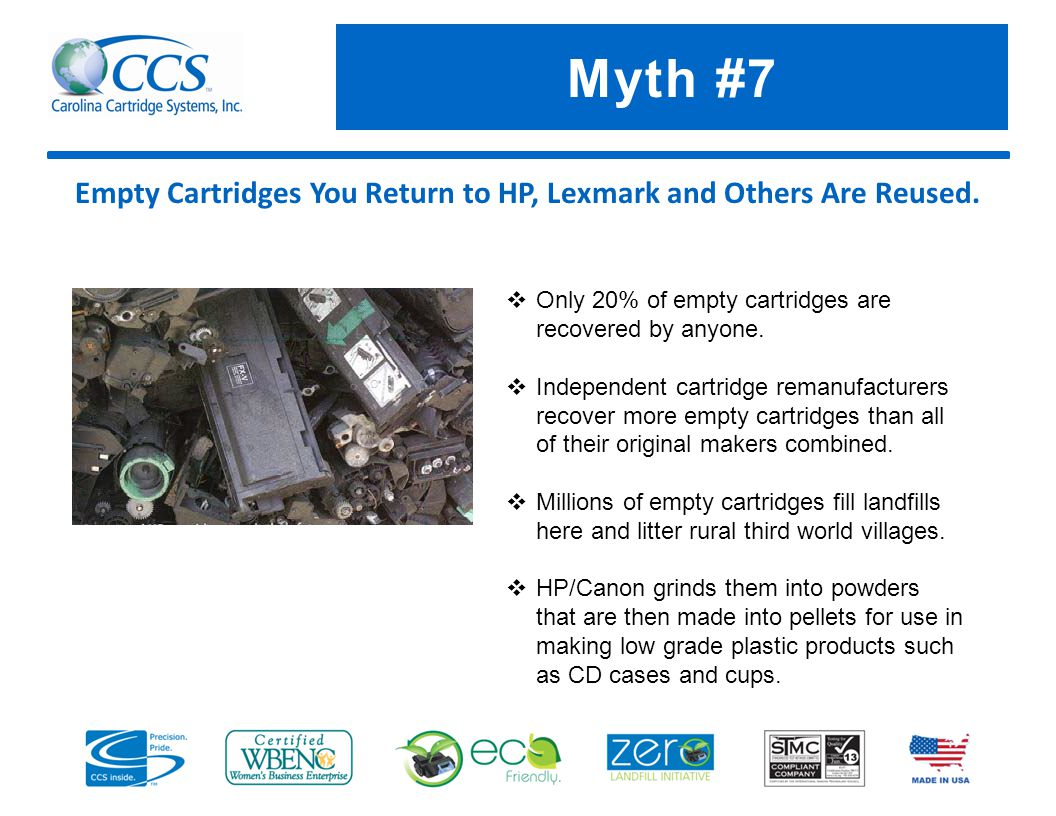 Myth #7 Empty Cartridges You Return to HP, Lexmark and Others Are Reused.