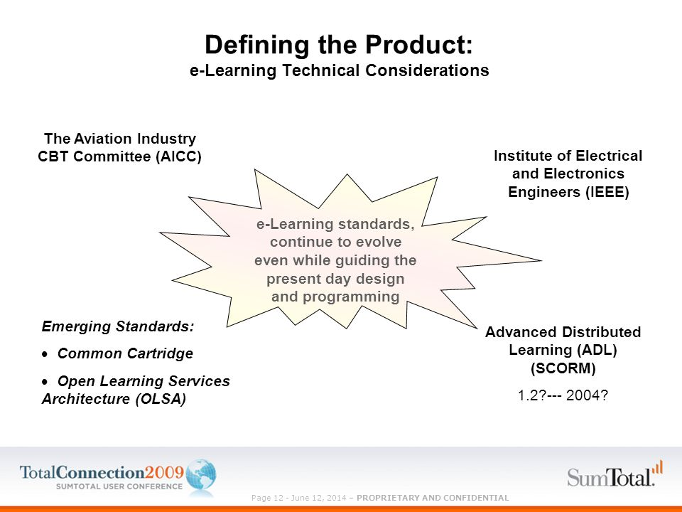 Page 12 - June 12, 2014 – PROPRIETARY AND CONFIDENTIAL Defining the Product: e-Learning Technical Considerations Emerging Standards: Common Cartridge Open Learning Services Architecture (OLSA) The Aviation Industry CBT Committee (AICC) Advanced Distributed Learning (ADL) (SCORM) 1.2 --- 2004.